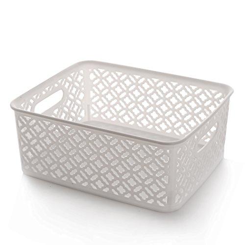 (BINO Woven Plastic Storage Basket, Medium (White))