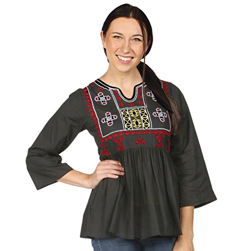 CATALOG CLASSICS Women's Peasant Tunic Top - Empire Waist Embroidered Shirt - Black/Red - Medium
