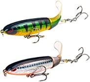 Guiiy 2-Pack Whopper Plopper Bass Lure with Rotating Spins Tail for Trout, Floating Fishing Lures with Barb Tr
