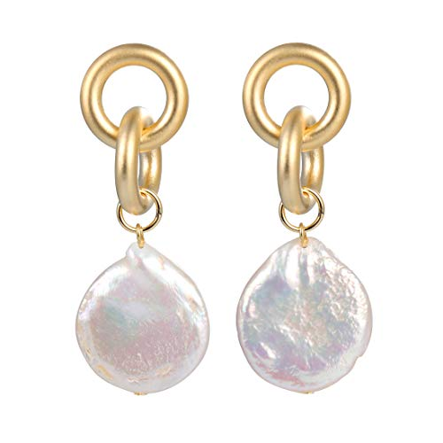 Unique Baroque Pearl Earrings for Women White Freshwater Cultured Pearl Dangle Drop ()
