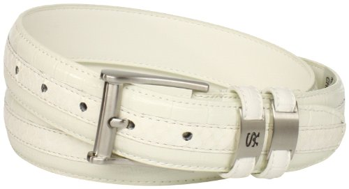 Stacy Adams Men's 35mm Genuine Snakeskin With Leather Embossed Crocodile And Lizard Belt, White, - White Belt Crocodile