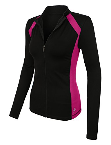LE3NO Womens Active Full Zip Long Sleeve Mock Neck Workout Sports Running Jacket