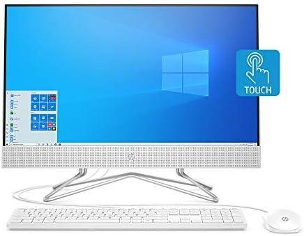 HP 24-inch All-in-One Touchscreen Desktop Computer, AMD Athlon Silver 3050U Processor, 4 GB RAM, 256 GB SSD, Windows 10 Home (24-df0030, White), Snow White