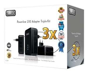Sweex Powerline 200 Adapter Triple Kit Ethernet 200Mbit/s adaptador y tarjeta de red - Accesorio de red (Alámbrico, Ethernet, Ethernet, 200 Mbit/s, Negro)
