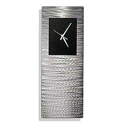 Statements2000 Metal Wall Clock Art Abstract Silver Black Accent Decor by Jon Allen, Black Radiance Clock