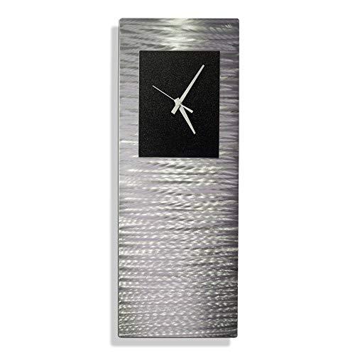 Statements2000 Metal Wall Clock Art Abstract Silver Black Accent Decor by Jon Allen, Black Radiance Clock ()