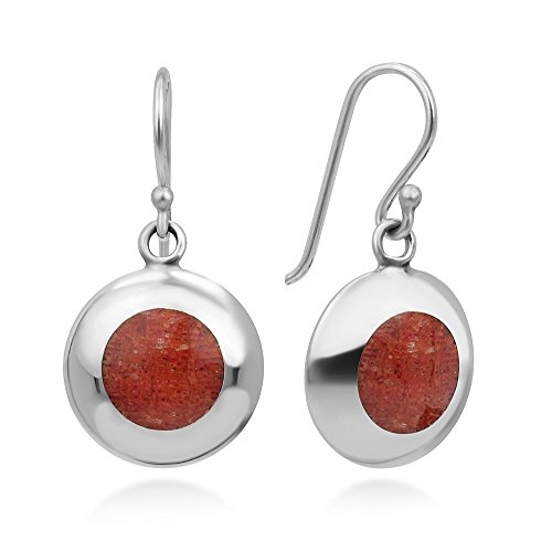 Coral Inlay Earrings - 925 Sterling Silver Natural Red Sea Bamboo Coral Circle Inlay Round Dangle Hook Earrings 1