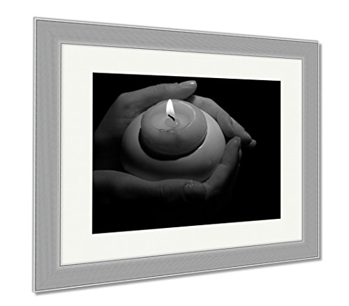 Ashley Framed Prints Burning Candle In Hands Isolated On Black, Contemporary Decoration, Black/White, 26x30 (frame size), Silver Frame, AG6514321 by Ashley Framed Prints