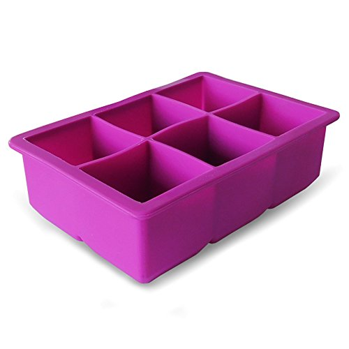 EB-614 Coolest 6-Cube Silicone Ice Tray (LARGE 1 PACK) (Ice 1 Tray Cube)