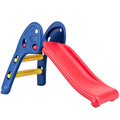 HONEY JOY Folding Slide, Indoor First Slide Plastic Play Slide Climber for Kids (Round Rail) (Round Rail)