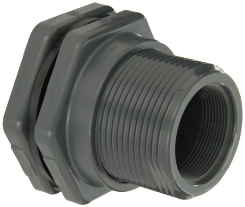 (Hayward BFA1020CES Series BFA Standard Flange Bulkhead Fitting, Socket x Threaded End, PVC with EPDM Seals, 2
