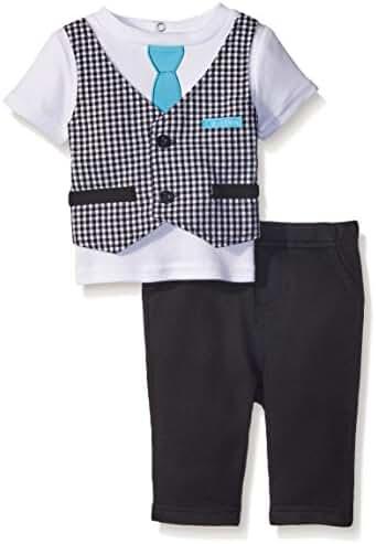 Calvin Klein Baby Boys' Interlock Top with Vest and Pants