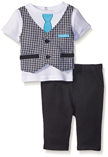 Calvin Klein Baby-Boys Interlock Top with Vest and Pants, Black, 6-9 Months