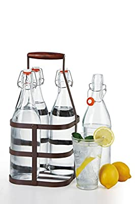 Simple Flow - 5 Piece Glass Bottle Drinkware set with caddy carrier