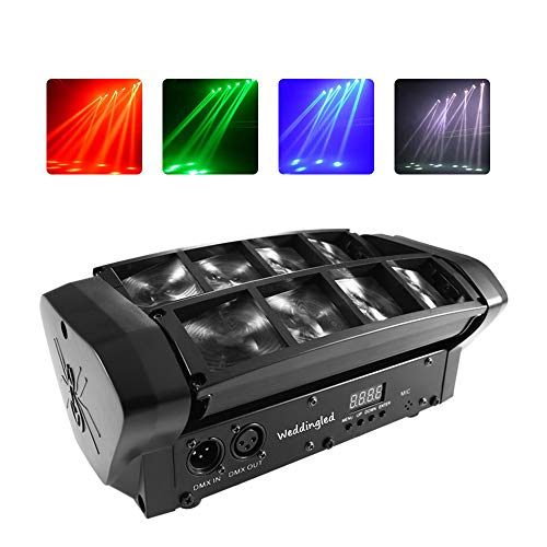 Moving Head Lights LED Mini Beam Spider Laser Scanning 8x3W with RGBW 4 Color LED Light Disco DMX512 Portable 10/14CH DJ Disco LED Stage Light For Parties,Indoor Bar,Club Wedding Ceremony