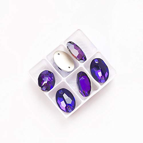 Maslin 3210 Oval All Colors Glass Sewing Strass Flat Back with Two Holes Sew On Crystal DIY Loose Beads for Jewelry Craft - (Color: Purple Velvet, Size: 17x24mm 12pcs) ()