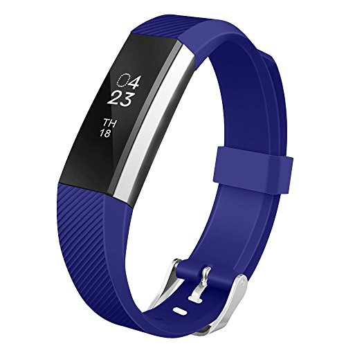 [Fitbit Alta Band, UMTELE Soft Replacement Wristband with Metal Buckle Clasp for Fitbit Alta Smart Fitness Tracker, Blue] (Small Buckle)