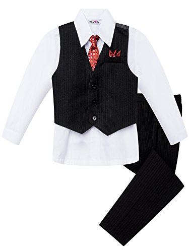 OLIVIA KOO Boys Colored Shirt Pinstripe 4 Piece Pinstriped Vest Set Size Infant-Boy 20 01 White 6 ()