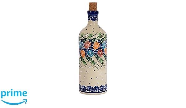Tradicional polaco Pottery, de cerámica artesanal botella de aceite O vinagre 500 ml, Boleslawiec estilo patrón, v.201 Rosy Collection: Amazon.es: Hogar