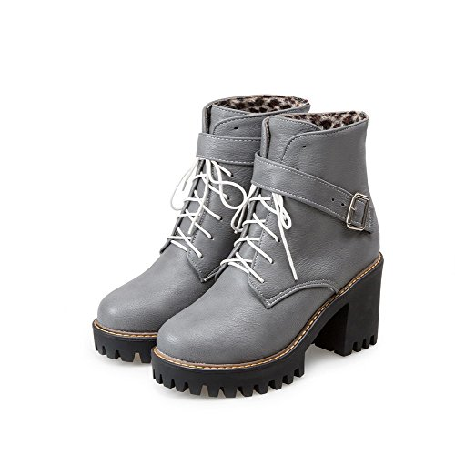 Toe Top Closed Lace Up WeenFashion Gray Women's Round Heels Low Boots High Solid 0IwCEE8xq