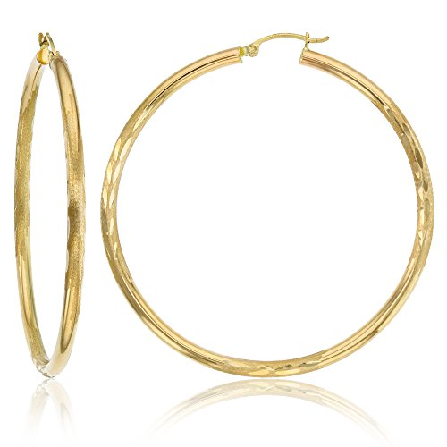 14K Yellow Gold 3X60MM Diamond Cut Hoop Earrings by Decadence