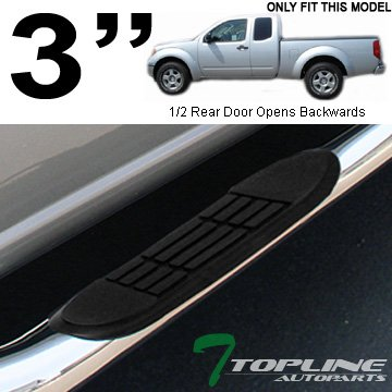 "Topline Autopart 3"" Polished Stainless Steel Side Step Nerf Bars Rail Running Boards JL For 05-17 Nissan Frontier ; 09-12 Suzuki Equator King ( Extended ) Cab"