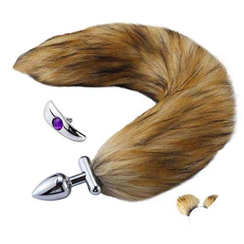 8 Styl2 pcs/Set Artificial Hair Plush Hairpin Ears Headband Headdress Fox Tail Chrome Metal Plug,W,Ben
