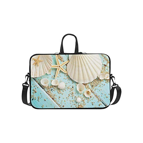Summer Sea Beach Seashell Starfish Blue Pattern Briefcase Laptop Bag Messenger Shoulder Work Bag Crossbody Handbag for Business Travelling (Hp 7240)