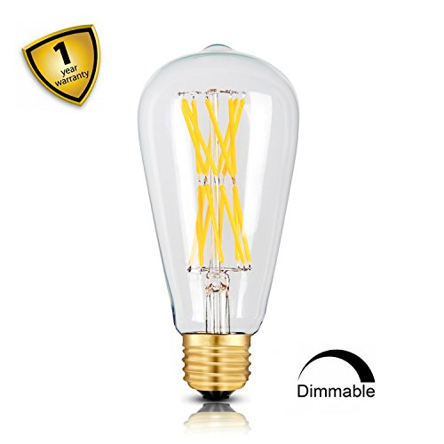 - Leools LED Edison Bulb 15W Dimmable 2700K Warm White 1300LM, 120W Equivalent E26 Medium Base, ST64 Vintage LED Filament Bulbs, 360 Degrees Beam Angle, Pack of 1
