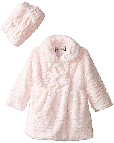 Widgeon Little Girls' 3 Bow Faux Fur Coat with Hat, Textu...