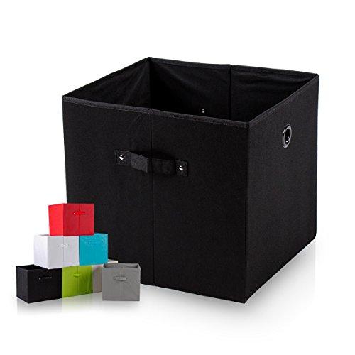 diMio SB1 Faltbox in schwarz (4er Pack) - Regalfach Aufbewahrungsbox mit Trageschlaufen und Fingerloch, extra tief für noch mehr Stauraum
