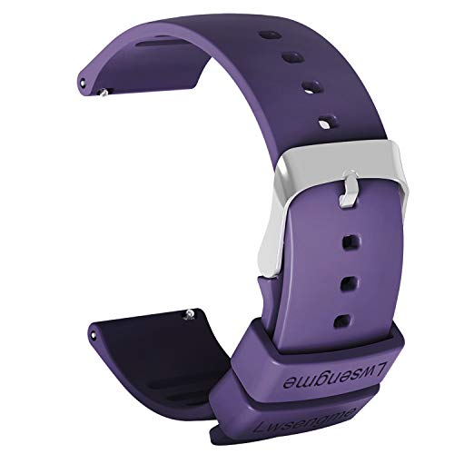 Lwsengme Silicone Watch Replacement Band with Quick Release-Choose Color & Width (20mm,22mm) & Length-Soft Rubber Watch Strap (Purple, 22mm)