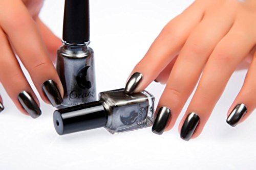 Inverlee Inverlee Mirror Chrome Effect Nail Art Polish Metal Color Stainless Steel Nail Polish … (Black)