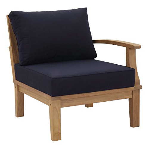 - Modway EEI-1149-NAT-NAV-SET Marina Teak Wood Outdoor Patio Sectional Sofa Right-Facing Chair, Arm, Natural Navy