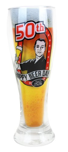 glass 50th birthday beer mug - 2