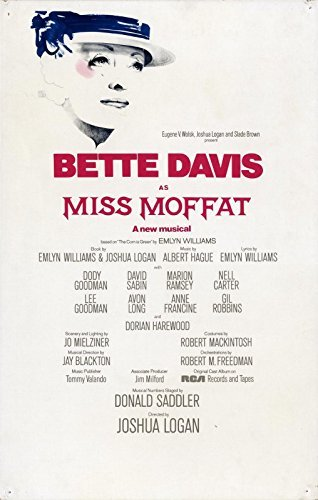 BETTE DAVIS / MISS MOFFAT (1974) Window card poster for musical production