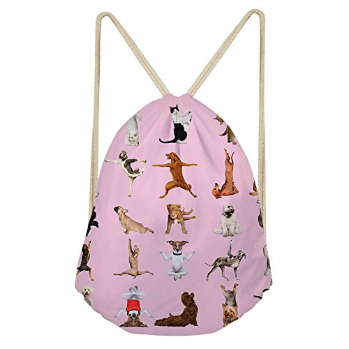 INSTANTARTS Pink Drawstring Backpack Cute Dog Print Yoga Swimming Bag Cinch Sackpack Gymsack