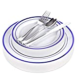 Blue Disposable Dinnerware Set - 125 Piece Blue Plastic Party Plates and Silver Plastic Silverware for Weddings, Receptions, Buffets - Service for 25 Guests Disposable Plates for Party (Blue Rim)