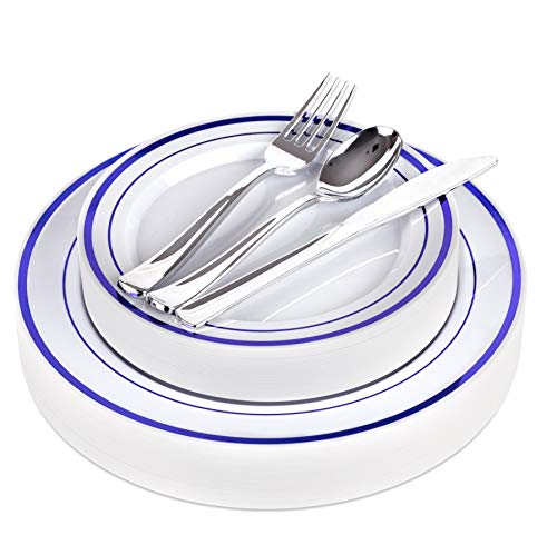 Blue Disposable Dinnerware Set - 125 Piece Blue Plastic Party Plates and Silver Plastic Silverware for Weddings, Receptions, Buffets - Service for 25 Guests Disposable Plates for Party (Blue Rim) -