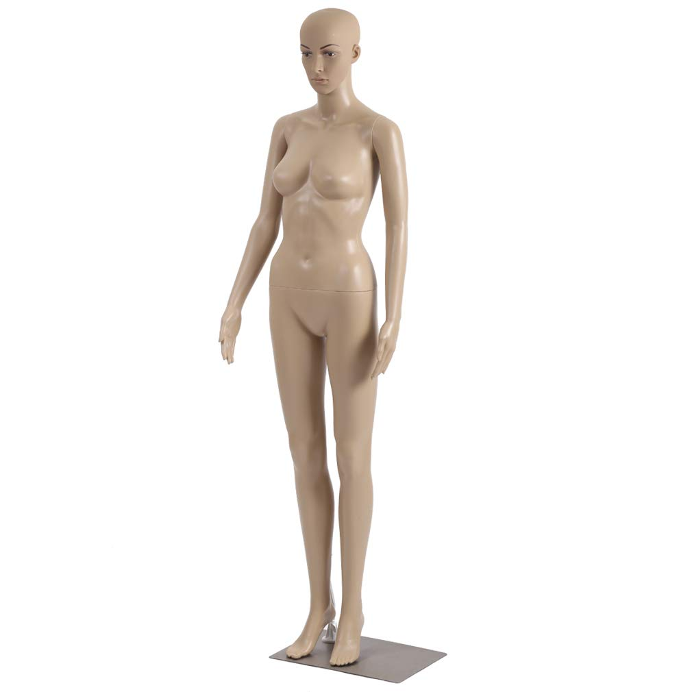 Female Mannequin Torso Dress Form Mannequin Body 69 Inches Adjustable Mannequin Dress Model Full Body Plastic Detachable Mannequin Stand Realistic Display Mannequin Head Metal Base by FDW