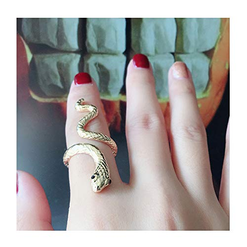(choice of all Adjustable Punk Rock Snake Ring for Women Retro Gothic Finger Jewelry Accessories (A:Gold 2 Textured))