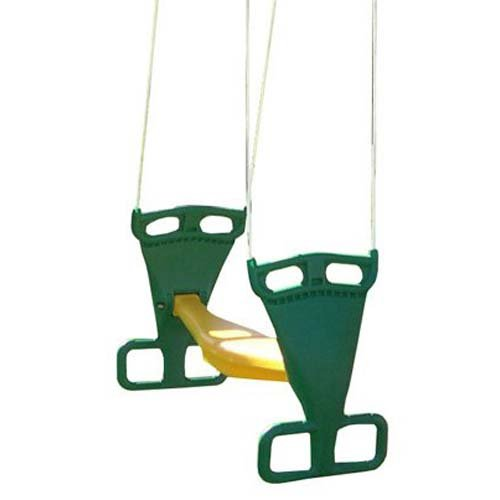 Back to Back Glider Swing With Rope - Green and Yellow by Playtime Swing Sets