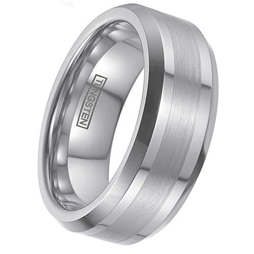 Personalized Engraved 6mm/8mm Silver Tungsten Wedding Band w/ 1/2 Brushed Finish Band & Beveled Edges. (Tungsten (8mm), 11)