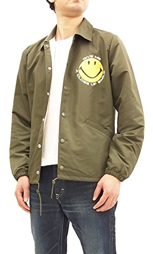 ches Jacket Smiley Face Coach's Jacket Sportswear TMJ1801 Olive Green Japan M (US S-M/UK 36-38) (Nylon Flannel Coaches Jacket)