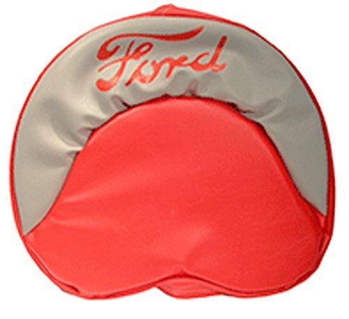 R4536 Ford Tractor Pan Seat Cover Cushion Gray and Red with Red Ford Logo - 19 Inches - Made in the USA