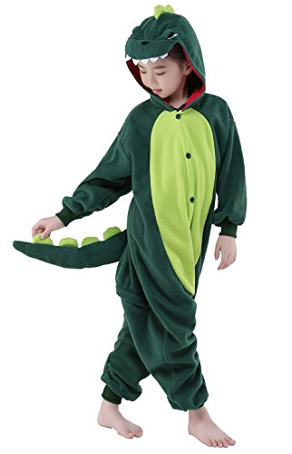 CANASOUR Unisex Halloween Onesie Kids Party Children Cosplay Pyjamas (125#(Size 10), Green Dinosaur) -
