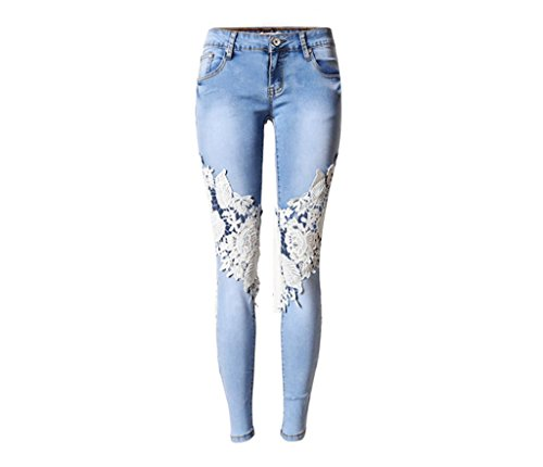 Byjia Mujeres Jeans High Waisted Denim Discoteca Skinny Stretchy Cremallera Bolsillo Leggings Pantalones Hollow Lace Slim Pencil Trouser Blue