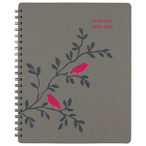 AT-A-GLANCE 2018-2019 Academic Year Weekly & Monthly Planner/Appointment Book, Large, 8-1/2 x 11, Pop Robin, Gray (At A-glance Appointment Book)