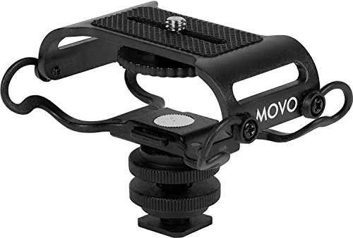 Movo SMM5-B Universal Microphone and Portable Recorder Shock Mount - Fits the Zoom H4n, H5, H6, Tascam DR-40, DR-05, DR-07 with Quarter-inch Mounting Screw (Black)