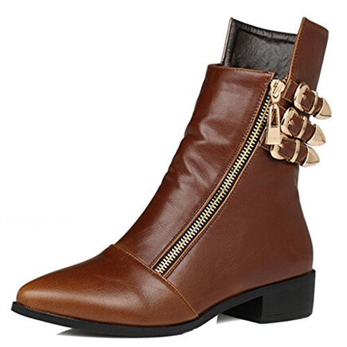 Dear Time Women Three Buckles Decorated Ankle Boots Brown xQWroZG1